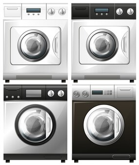 Conjunto de lavadoras en diferentes diseños de ilustración
