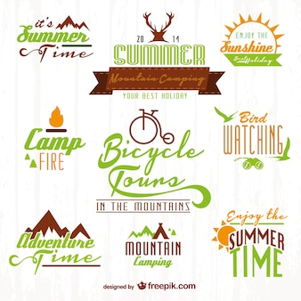 Conjunto de logos de aventuras en la naturaleza