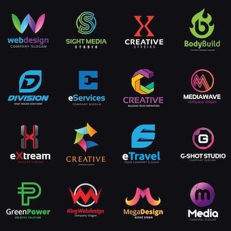 Conjunto de logotipos de letras del alfabeto. Colección de identidad de marca.