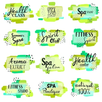 Conjunto de logotipos de lettering de spa y fitness