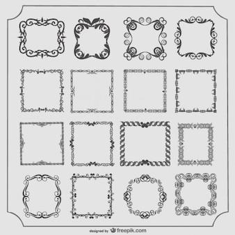 Conjunto de marcos antiguos vector con conjunto