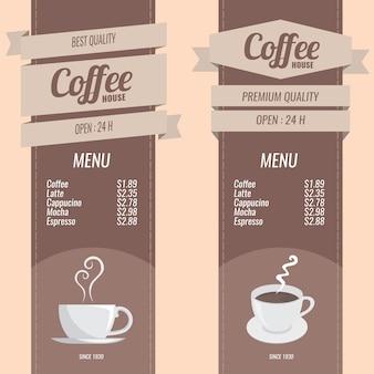 Conjunto de menús de café