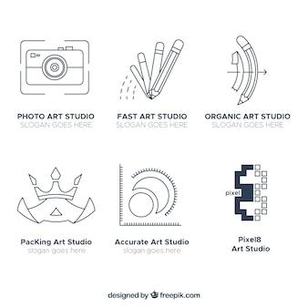 Conjunto de modernos logos de estudios de arte en estilo lineal