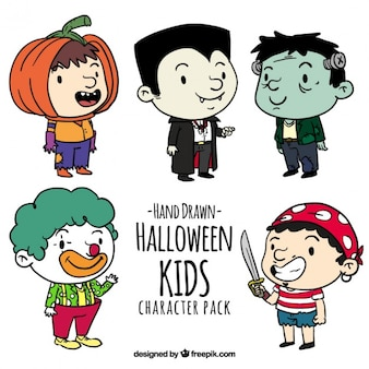 Conjunto de niños dibujados a mano con trajes
