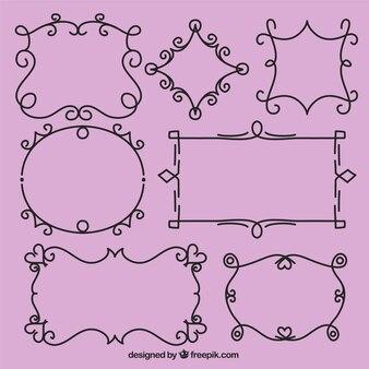 Conjunto de ornamentos sobre fondo rosa