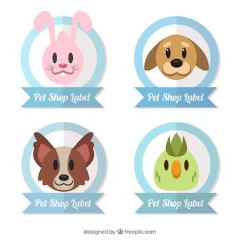 Conjunto de pegatinas con animales bonitos