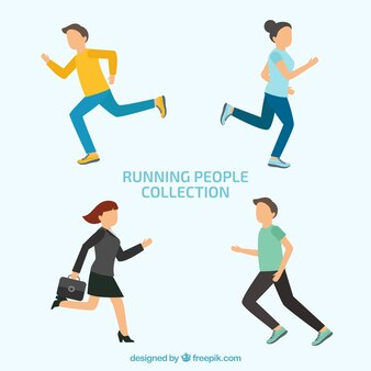 Conjunto de personas corriendo en estilo flat
