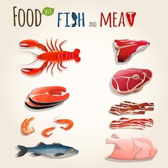 Conjunto de pescado y carne