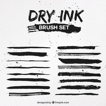 Conjunto de pinceles de tinta seca