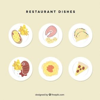 Conjunto de platos de restaurante