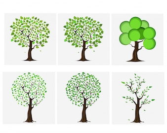 Conjunto de seis árboles verdes de diseño.