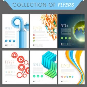 Conjunto de seis folletos modernos o plantillas de diseño para los negocios