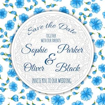 Conjunto de tarjeta de invitación de boda con la plantilla de la flor.
