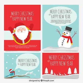 Conjunto de tarjeta de Navidad temporada