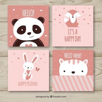 Conjunto de tarjetas adorables con animales