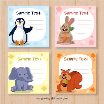 Conjunto de tarjetas con animales adorables y plantilla