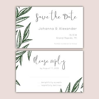 Conjunto de tarjetas de boda y rsvp