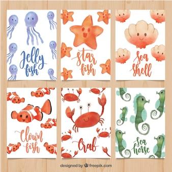 Conjunto de tarjetas en acuarela con animales marinos