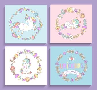 Conjunto de tarjetas mágicas de unicornios con marcos de círculo.