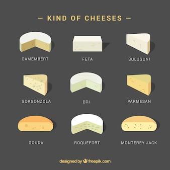 Conjunto de tipos de queso, estilo realista
