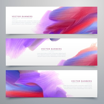 Conjunto de tres banners de pintura de acuarela