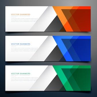Conjunto de tres coloridos banners geométricos