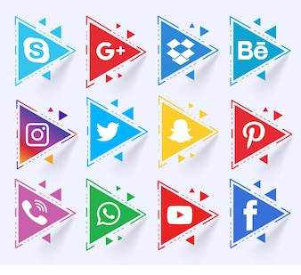 Conjunto de triángulos de medios sociales