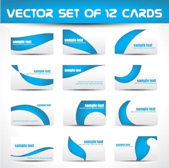 Conjunto de vectores de 12 tarjetas de visita
