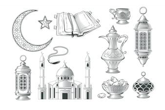 Conjunto de vectores de ilustraciones musulmanes, iconos de oración y ramadán kareem en el estilo de grabado