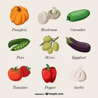 Conjunto de verduras con nombres