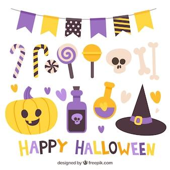 Conjunto divertido de elementos de fiesta de halloween