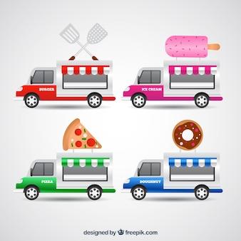 Conjunto divertido de food trucks coloridas