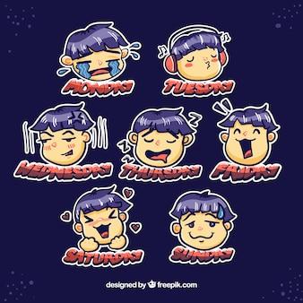 Conjunto divertido de pegatinas de caras de niño