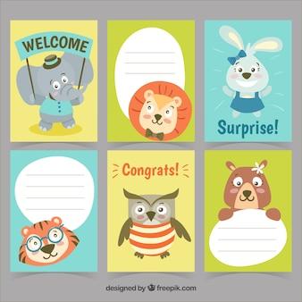 Conjunto divertido de tarjetas de cumpleaños con animales