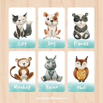 Conjunto divertido de tarjetas en acuarela con animales felices