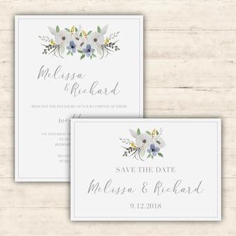 Conjunto elegante de invitaciónes de boda