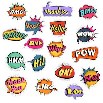 Conjunto grande de burbujas cómicas creativas del discurso con diverso diseño del texto de la expresión, colección del arte pop en efecto punteado de semitono.