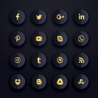Conjunto oscuro de iconos premium de redes sociales