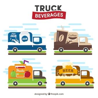 Conjunto vintage de food trucks clásicas