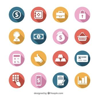 Conjuntos de iconos coloridos de dinero