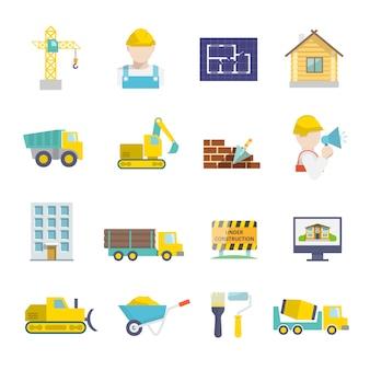 Construcción de instalaciones de vehículos y herramientas de construcción de iconos conjunto aislado ilustración vectorial