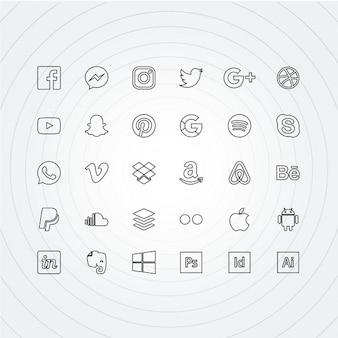 Contorno de iconos para redes sociales