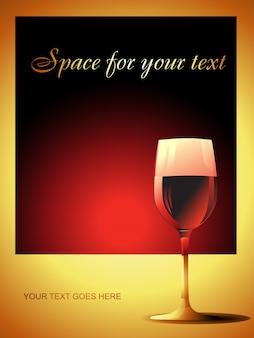 Copa de vino sobre fondo rojo premium