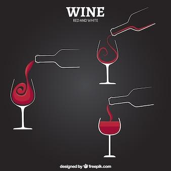 Copas de vino y botellas