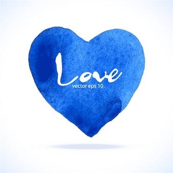 Corazón azul , acuarela