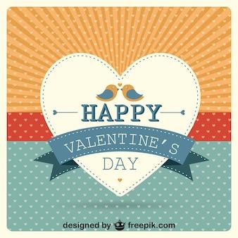 Corazón con pareja de pájaros en tarjeta retro de Feliz San Valentín