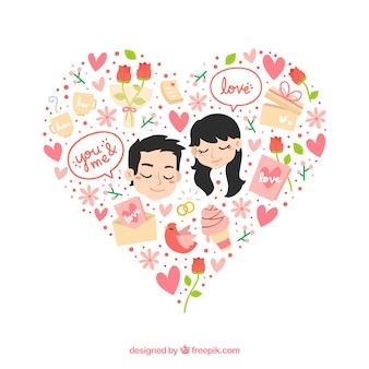 corazón floral precioso con una pareja en el amor