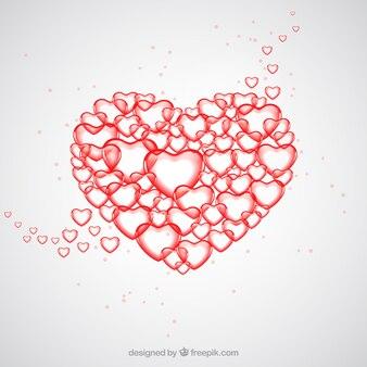 Corazón grande hecho de pequeños corazones
