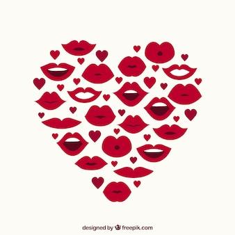 Corazón hecho de labios y pequeños corazones