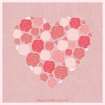 Corazón hecho de rosas
